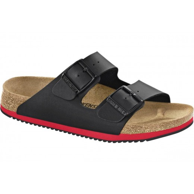 BIRKENSTOCK PROFESSIONAL Arizona SL SFB klassisk sort/rød unisex sandal med to remme, som er velegnet til alle,-331