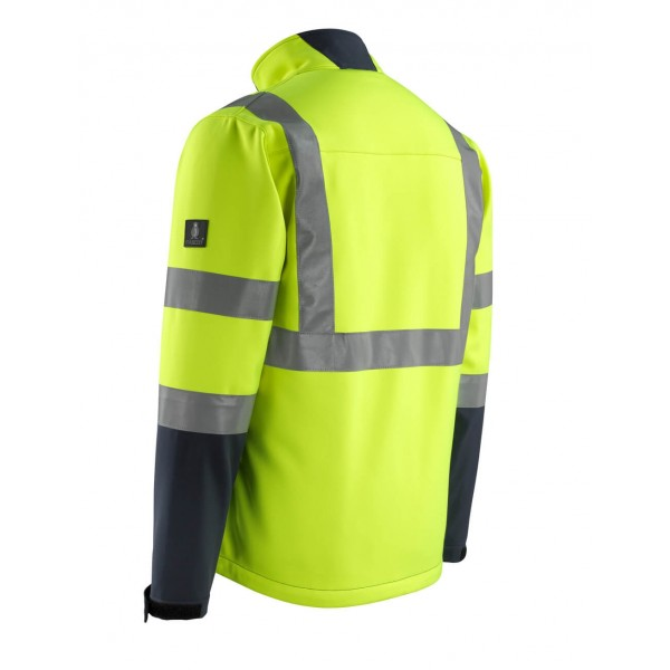 KIAMA | MASCOT® SAFE LIGHT Softshell jakke EN20471 Kl. 2 Gul/ marine 15902-359