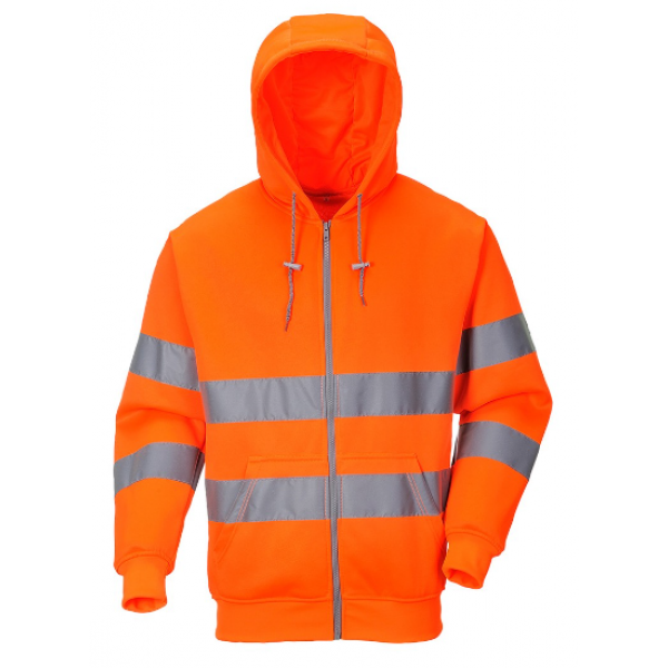 Portwest Hi-vis hætte sweatshirt med lynlås B305 Orange INDUSTRI-kvalitet-334