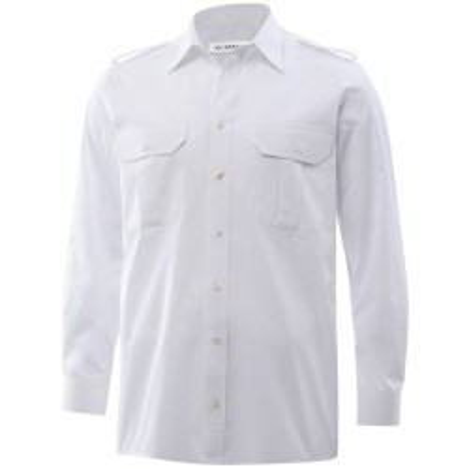 Bosweel uniforms /pilotskjorte med skulderstropper og lange ærmer classic fit hvid-20