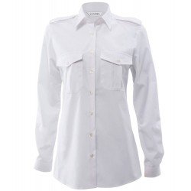 Bosweel uniforms /pilotskjorte med skulderstropper og lange ærmer Lady/ dame fit hvid-20