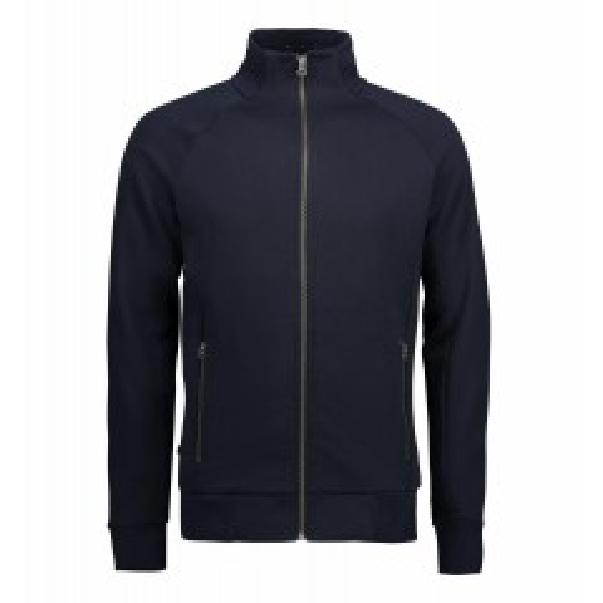 Cardigan i kraftig kvalitet med gennemgående lynlås samt to sidelommer. Herre cardigan sweatshirt fra ID - Navy - ID0628